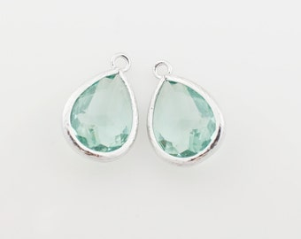 G000311P/Erinite/Rhodium plated over brass/Drop faceted glass pendant/11.4mm x 17.1mm /2pcs