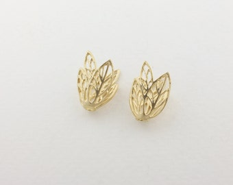 P0088/Anti-Tarnished  Matt Gold Plating Over Brass/Leaf Bead Cap/10 x 15mm/4pcs