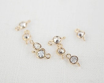 P0144/Anti-Tarnished Gold Plating Over Brass/Cubic zirconia Connector /5 x10mm/4pcs