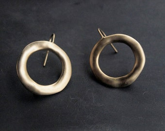 E0007/Anti-tarnished Matt Gold Plating Over Brass/Large Circle Earring Hook Wires/22x26mm/2pcs