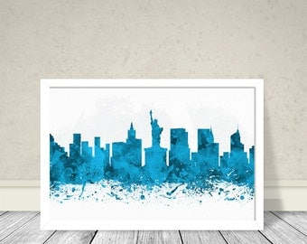 New York Light Blue Watercolor, Cities Watercolor, Cities Art, Watercolor Art, New York City Light Blue Art, Abstract City