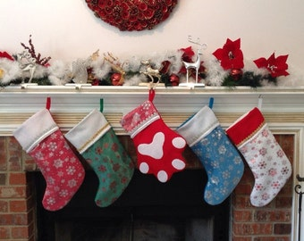 christmas stockings with silver or red snowflakes custom colors felt christmas stocking family christmas - Custom Christmas Stockings