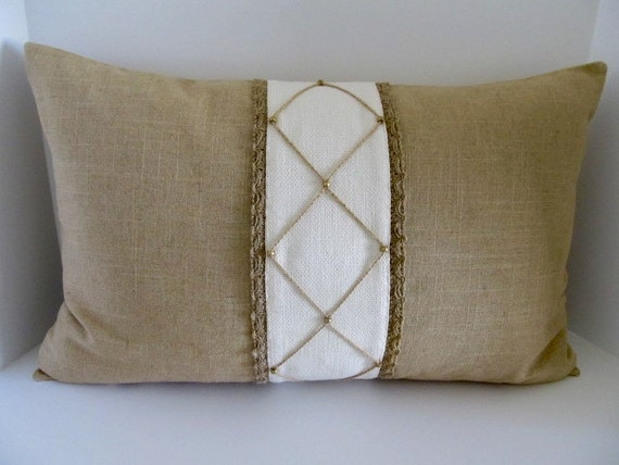 Decorative Pillow Trim : Decorative Jute Trim Lumbar Pillow Made with by DesignsByLuBella