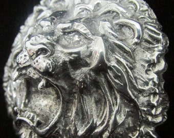 LION PENDENT, 925 sterling silver lion head,14k gold