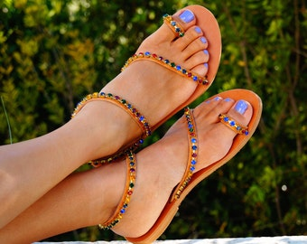 Genuine leather sandals decorated with multicoloured Swarovski crystals