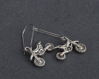 Dirt Bike Dangle Earrings, ATV Offroad Motocross Jewelry in Antique Silver