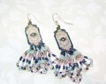 Beadwork Earrings Blue