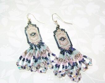 Beaded Earrings Blue Dangle Earrings
