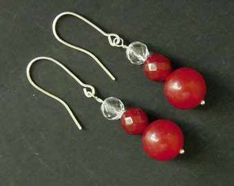 Handmade  Sterling Silver Ruby and Crystal Earrings