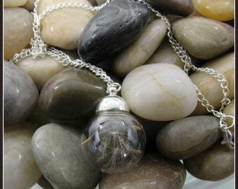 "Glass Globe Dandelion Seed Pendant on 22"" Chain"