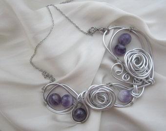 Amethyst Aluminum Necklace; Aluminum Wire Jewelry