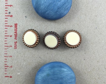 2 x Blue Extra large chunky domed Bakerlite (?) Buttons (38mm diameter)