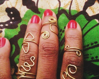 Gold Henna Rings // Brass Wire Ring, Wire Wrapped Ring, Brass Ring, Dainty Jewelry, Gold Rings, Summer Style, Eclectic Rings, Afrocentric