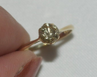 Solitaire canary diamond ring.
