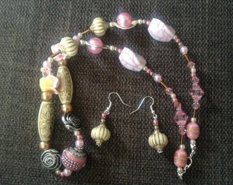 Necklace Earrings Rose Garden Pink Cream Bronze Beads Handmade
