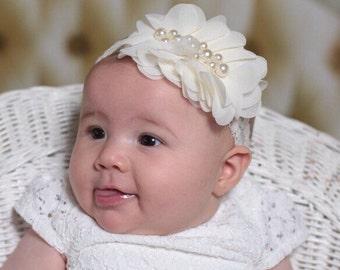 Ivory baby headband-Ivory newborn headband-Ivory hair bow-Ivory couture headband-Ivory Christening headband-Ivory baptism headband