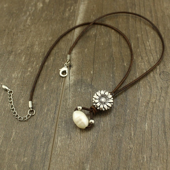WYJ-S146 Single leather cord necklacepearl on by ...
