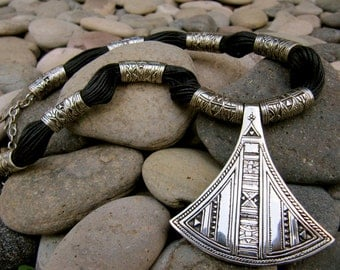 Tuareg Beaded Tribal Necklace - Ethnic Jewelry  - White Brass - Statement necklace - Tribal Jewelry- Nakila Collective