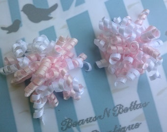 Mini Corkers - Light Pink and White Corker Hair Clip - Corker Barrette - Mini Corker Clippie - Korker Hair Bow -  Set of 2