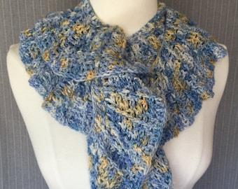 Hand Crocheted Ruffled, Twirly Scarf