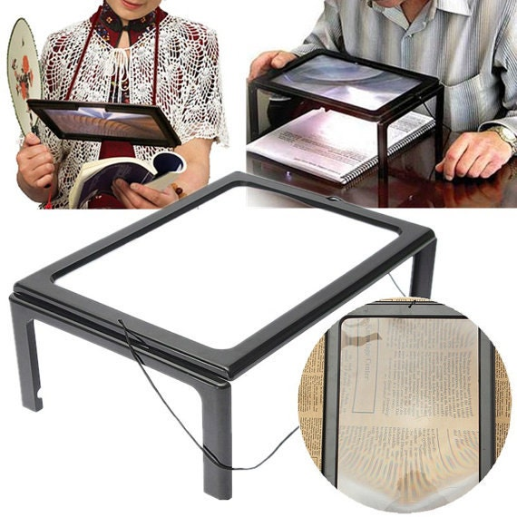 Full Page Lighted Stand Hands Free Magnifier 4 Bright Built In