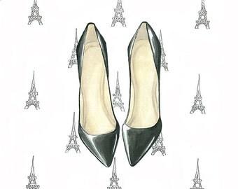Shoes print, Shoe art, Fashion illustration, Shoes illustration, Fashion print, Fashion art, Wall art, Fashion wall art