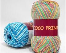 Mercerized cotton yarn COCO PRINT Set of 5 skeins 100% mercerized cotton by Vita Cotton / Yarn knitting crochet 240m 50g