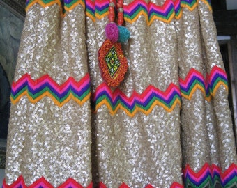 Sequin and embroidered cotton skirt.