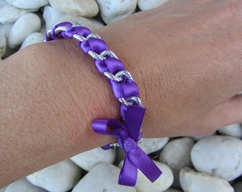 Chain Ribbon Bracelet - Large Chain Woven with Purple Ribbon and Purple Bow, Friendship Bracelet