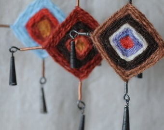 handmade wool gods eyes with metal tassels,  boho ornament