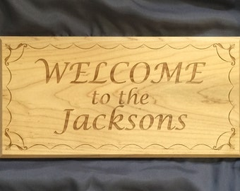 Personalized Name Welcome Sign with Wave Border - Laser Engraved Solid Wood