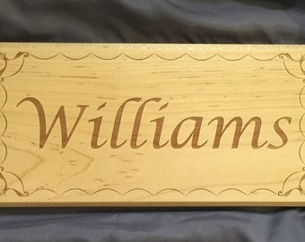 Personalized Name Sign with Wave Border - Laser Engraved Solid Wood