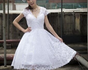 50shouse_ 50s inspired retro feel V neckline lace tea length wedding dress with see through back view_ custom make