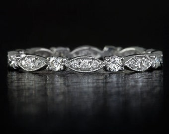 Vintage Inspired Half Carat 054ct Infinity Wedding Band Antique Stacking Cocktail Milgrain Ring Round