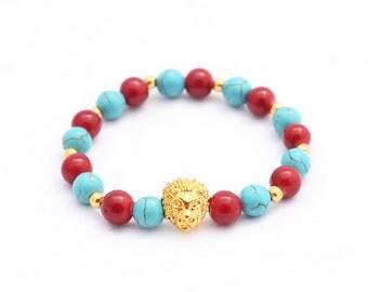 mens bracelet , women's bracelet 18kt gold lion head mix red agate & turqouise beads