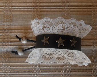 Leather cuff bracelet with cream lace and 3 star rivets bead closure