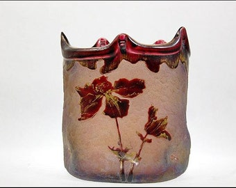 Old French Mont Joye Cameo Art Glass Purple Iris Scene Vase