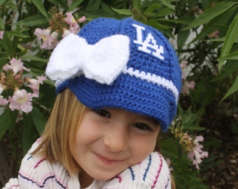 Girls Baby BASEBALL Hat, Kids Ball Cap, Baby baseball gifts, Los Angeles DODGERS inspired (Handmade by me and not affiliated with the MLB)