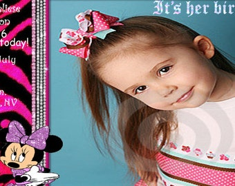 Pink Zebra & Rhinestones Minnie Mouse Birthday Invitation