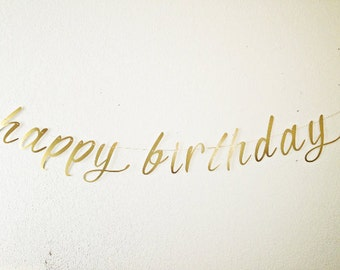Cursive- Script- Happy Birthday Banner - Gold Satin Birthday Banner