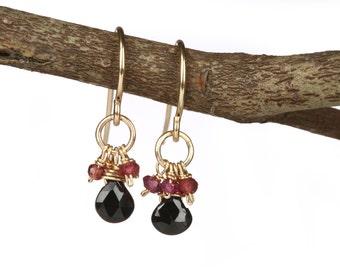 Onyx, Garnet 14k Gold Filled Earrings