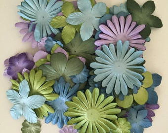 88 Count of Petaloo Flora Doodles Paper Flowers in Cooltone Colors, Card Making Flowers, Scrapbooking Flowers, Finishing Flowers