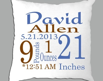 Personalized Baby Stats  Pillow Cover