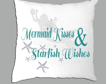 Mermaid Kisses & Starfish Wishes on  White pillow cover