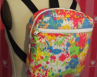 Neon Paint Backpack/Rave Backpack/School Backpack/Festival Backpack/Burning Man Backpack/Kawaii Backpack/Cute Backpack/Denim Backpack