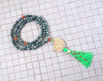 8MM Hand Knotted Natural Seraphinite, Carnelian and Yellow Ammonite 108 Mala Tassel Necklace