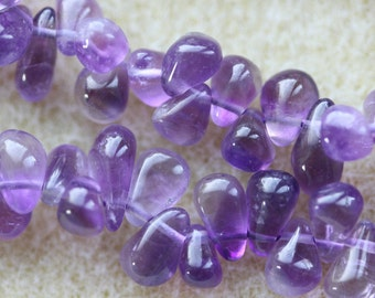 Brazilian Amethyst Top Drilled Smooth Drops 7-9mm - Full Strand