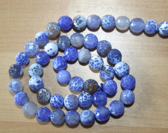 Fire Agate 8mm Faceted Round Beads - New Price