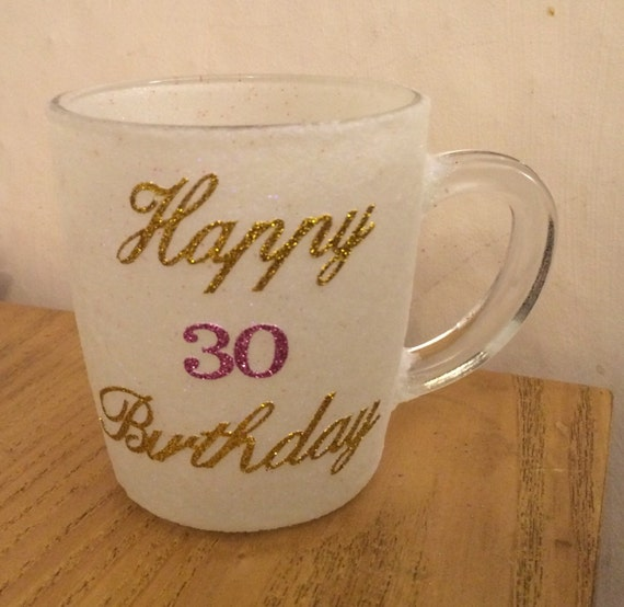 Beautiful hand glittered glass mug personslised happy 30th birthday