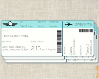 Boarding Pass Invites for Baby Shower, Airplane Ticket Invites, Baby Shower Invites, Airplane Baby Shower invites, Printable Baby Shower